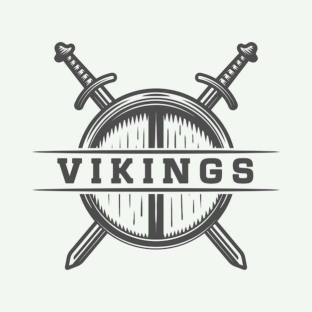 Wikinger-logo, label, emblem, abzeichen Premium Vektoren