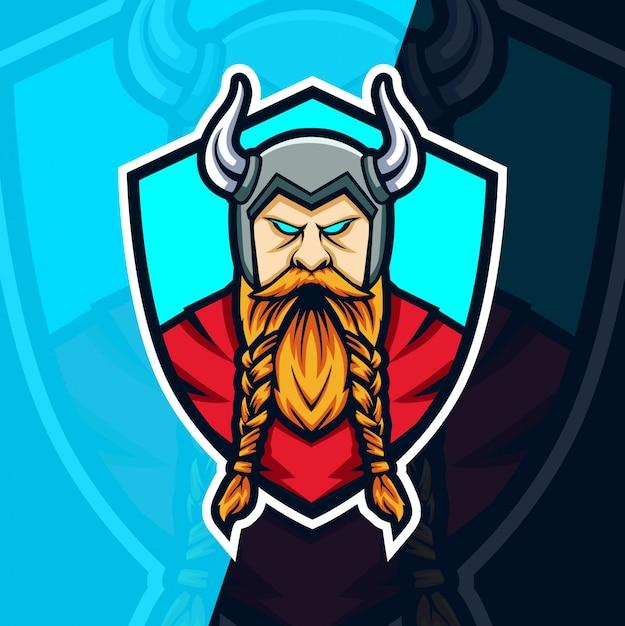 Wikinger maskottchen esport logo design Premium Vektoren