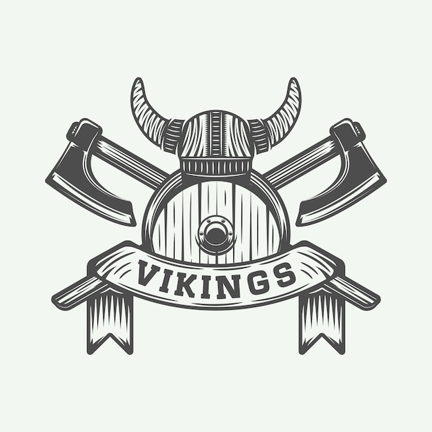 Wikinger motivierendes logo Premium Vektoren