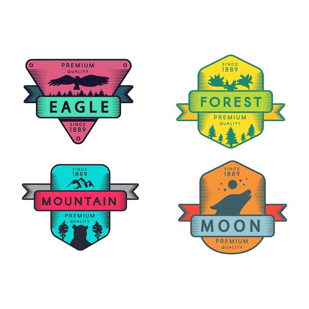 Wild eagle und berg, mond und wald set logo Premium Vektoren