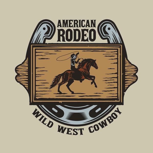 Wild west holzbrett mit cowboy in pferd und hufeisen Premium Vektoren