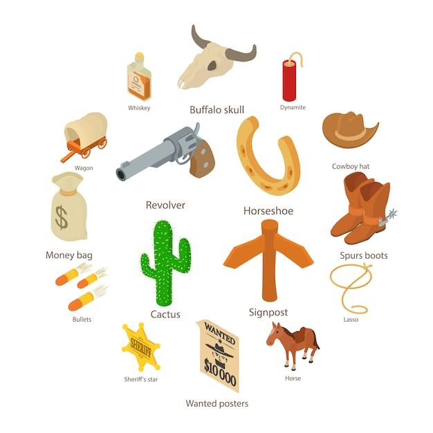 Wild-west-symbole festgelegt, isometrische art Premium Vektoren