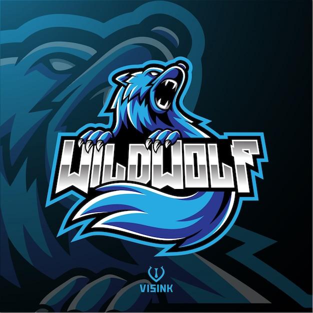 Wild wolf maskottchen logo Premium Vektoren