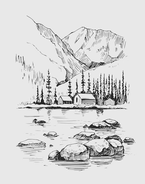 Wilde naturlandschaft mit bergen, see, kiefern, felsen. hand gezeichnete illustration umgewandelt in vektor. Premium Vektoren