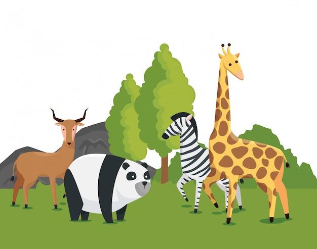Wilde tiere im naturschutz Kostenlosen Vektoren