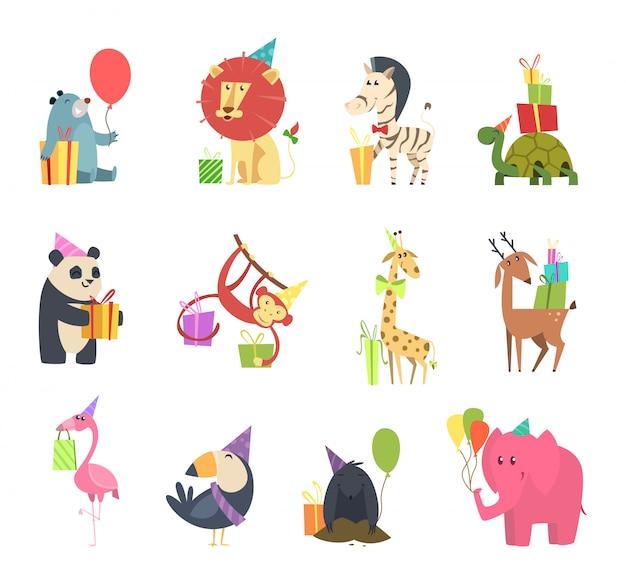 Wilde tiere mit geschenken. festliche feiertagsfeier mit elefantenigelzebra-bärn-schildkrötenlöwe- und -affe-zeichentrickfilm-figuren Premium Vektoren