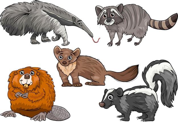 Wilde tiere stellen karikaturillustration ein Premium Vektoren