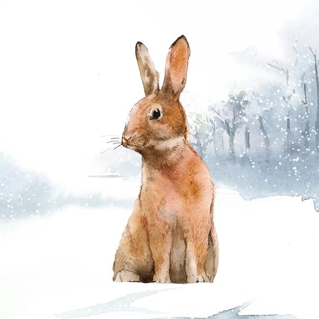 Wilder hase in einem winterwunderland Kostenlosen Vektoren