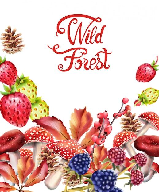 Wilder wald trägt zusammensetzung früchte Premium Vektoren