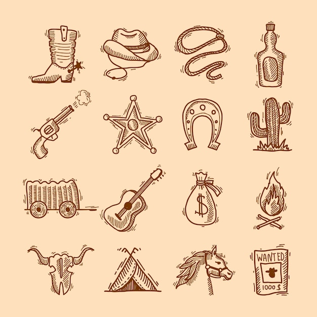 Wilder westen cowboy hand gezeichnet satz mit sattel sheriff abzeichen hufeisen isoliert vektor-illustration Kostenlosen Vektoren