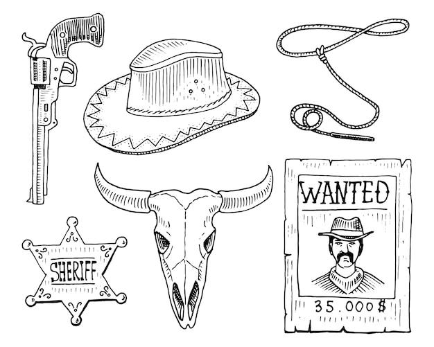 Wilder westen, rodeo-show, cowboy oder indianer mit lasso. Premium Vektoren