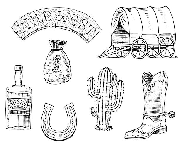 Wilder westen, rodeo-show, sheriff, cowboy oder indianer. Premium Vektoren