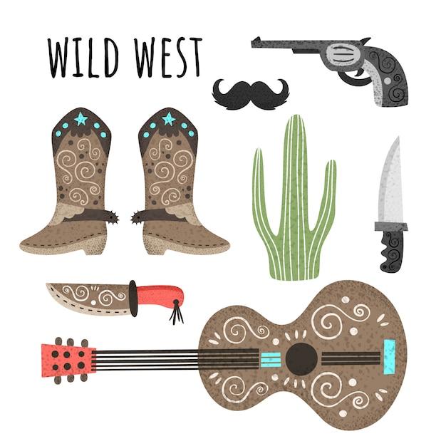 Wilder westen. vektorsatz elemente mit beschaffenheit. gitarre, cowboystiefel, messer, revolver, kaktusschnurrbart Premium Vektoren