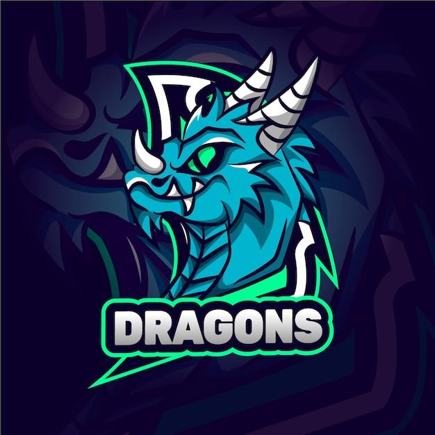 Wildes drachen maskottchen logo Premium Vektoren