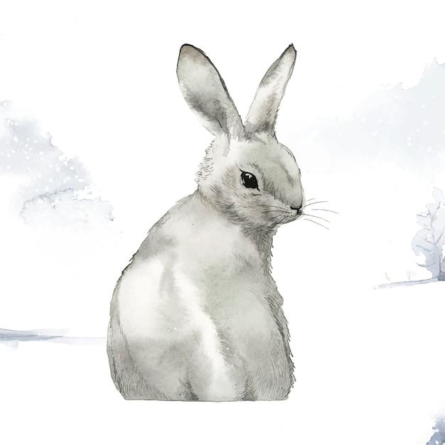 Wildes graues kaninchen in einem wintermärchenland Kostenlosen Vektoren