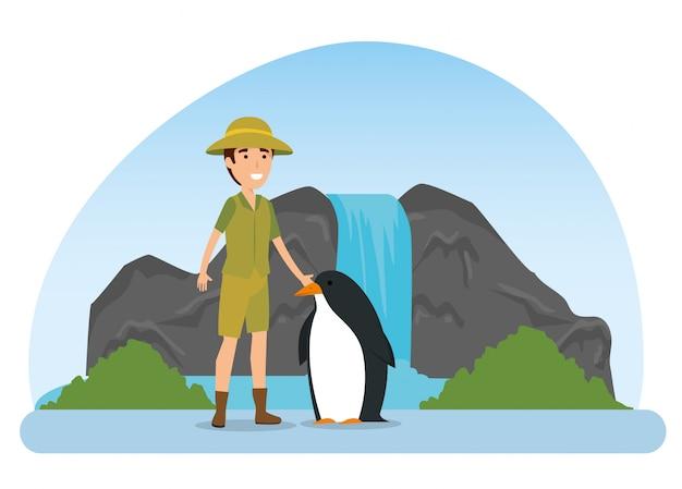 Wildes tier des pinguins mit safarimann Kostenlosen Vektoren