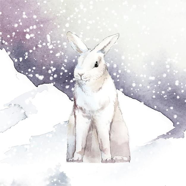 Wildes weißes kaninchen in einem wintermärchenland Kostenlosen Vektoren