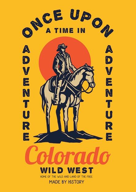 Wildes westcowboyreitpferd mit sonnenuntergang Premium Vektoren