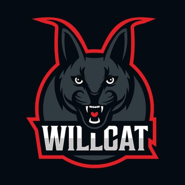 Wildkatze maskottchen logo Premium Vektoren