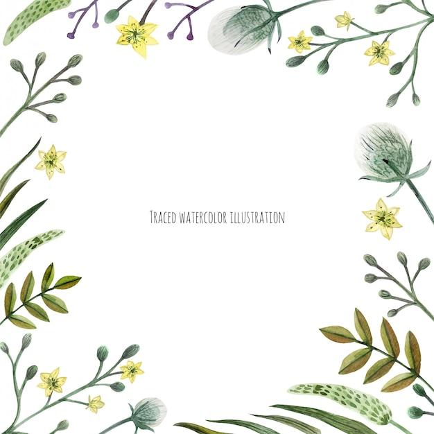 Wildpflanzen-aquarellkranz Premium Vektoren