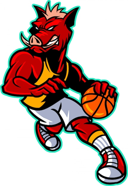Wildschwein-basketball Premium Vektoren