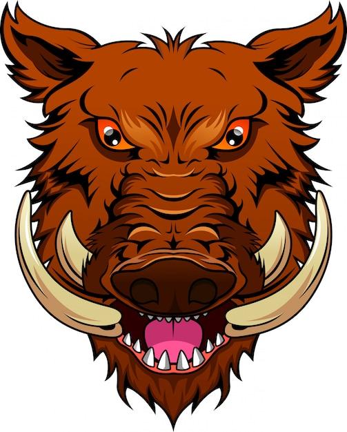 Wildschweinkopf maskottchen Premium Vektoren