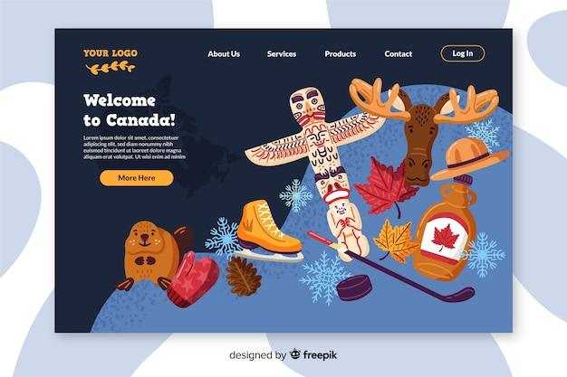 Willkommen auf der bunten landingpage von kanada Kostenlosen Vektoren