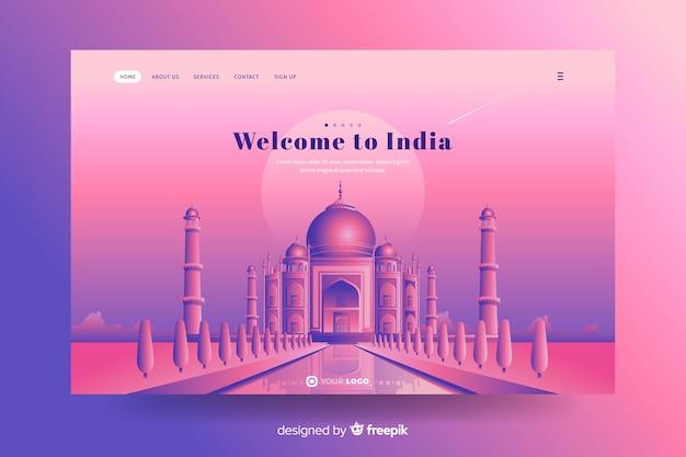 Willkommen auf der indischen landingpage mit taj mahal Kostenlosen Vektoren