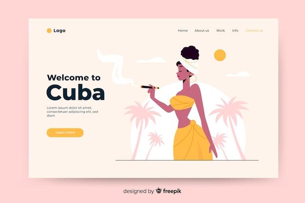 Willkommen auf der kuba-landingpage mit abbildungen Kostenlosen Vektoren