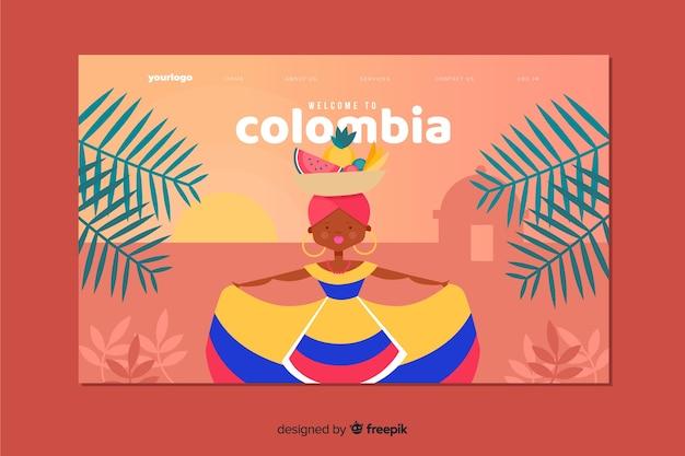 Willkommen auf der landing page von kolumbien Kostenlosen Vektoren