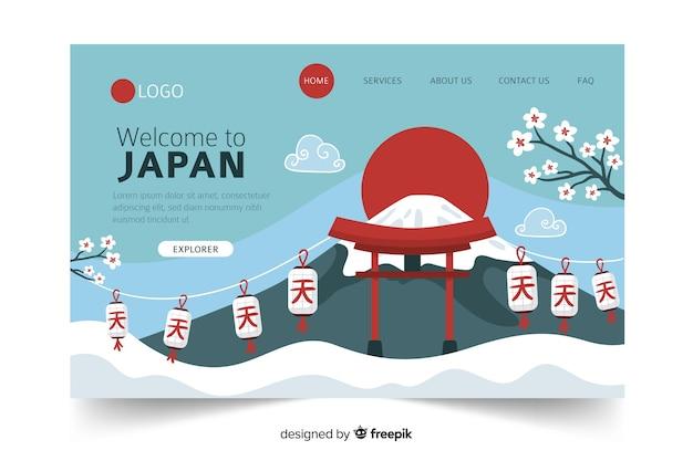 Willkommen auf der landingpage von japan Kostenlosen Vektoren