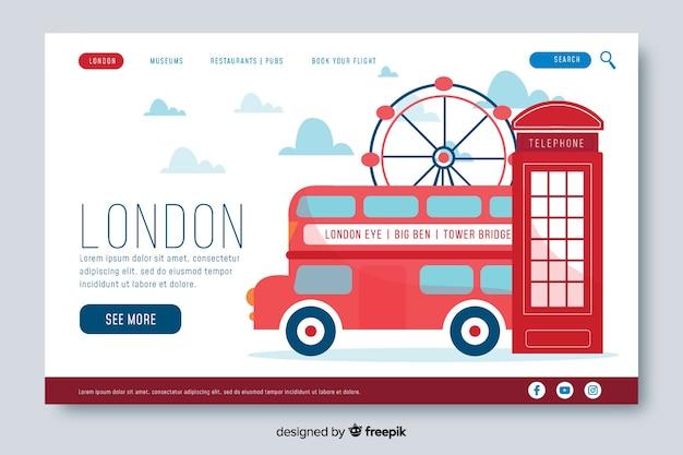 Willkommen auf der londoner landing page Kostenlosen Vektoren