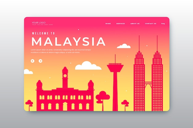 Willkommen auf der malaysia landing page Kostenlosen Vektoren