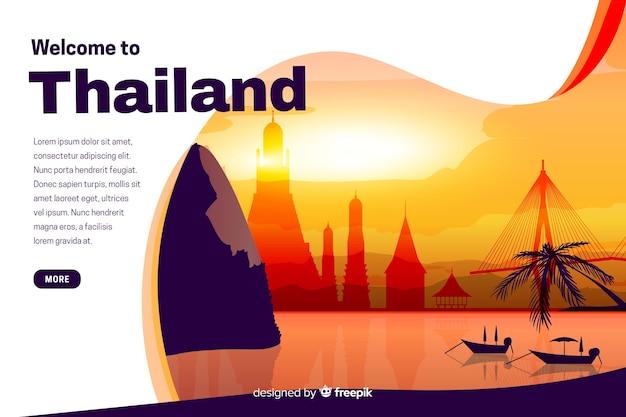 Willkommen auf der thailand landing page mit illustrationen Kostenlosen Vektoren