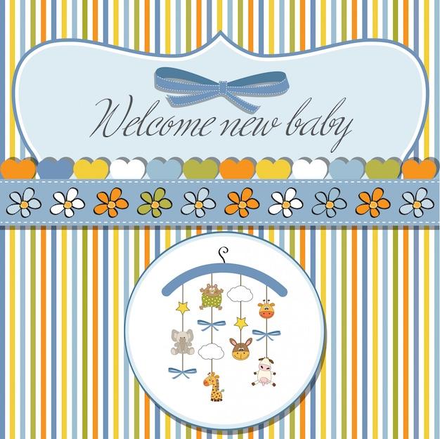 Willkommen baby ankündigung karte Premium Vektoren