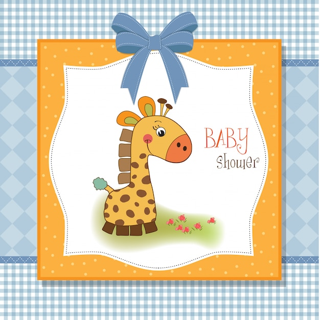 Willkommen baby karte mit giraffe Premium Vektoren