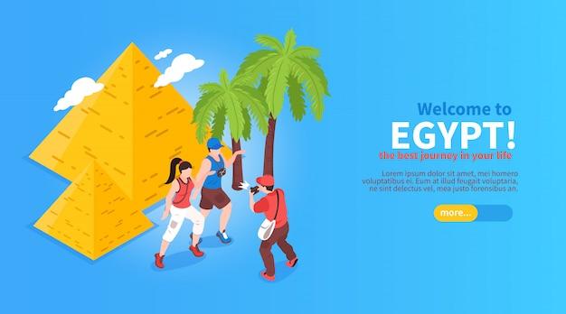 Willkommen bei ägypten online-reiseplanung buchung isometrische website horizontales banner mit pyramiden palmen reisende Kostenlosen Vektoren