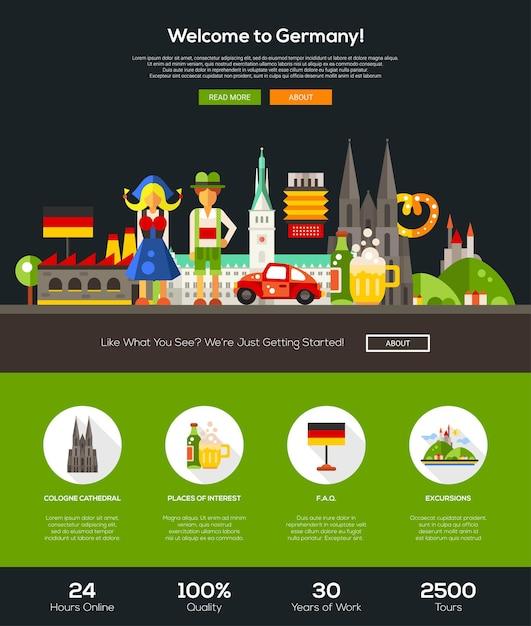 Willkommen bei der vorlage der deutschland-reise-website Premium Vektoren