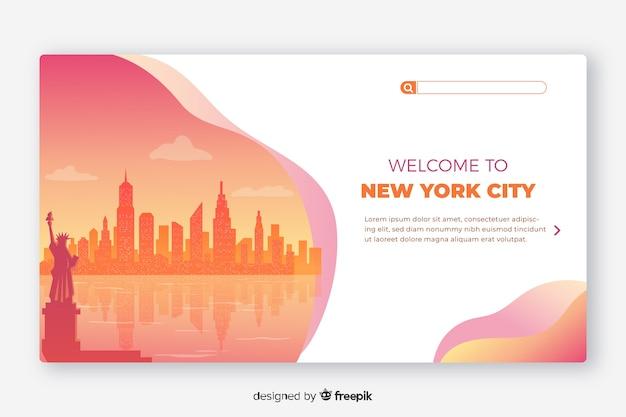Willkommen bei der vorlage für die landingpage in new york Kostenlosen Vektoren