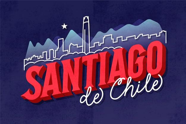 Willkommen bei santiago de chile schriftzug Kostenlosen Vektoren