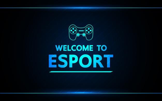 Willkommen beim abstrakten technologiespiel e-sport Premium Vektoren