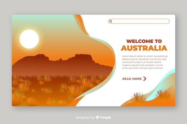 Willkommen in australien landing page template Kostenlosen Vektoren