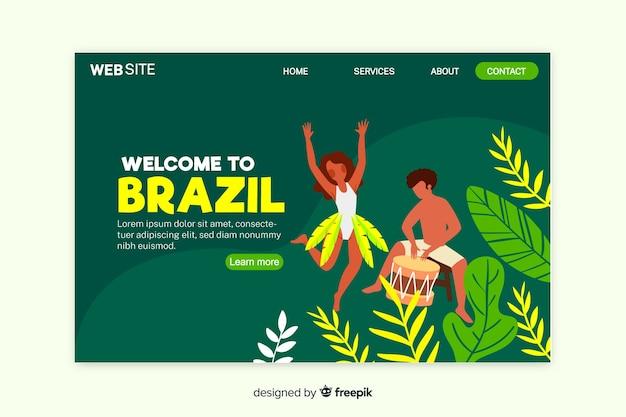 Willkommen in brasilien landing page template Kostenlosen Vektoren