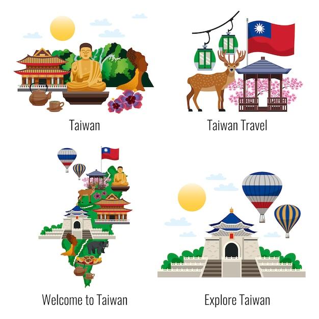 Willkommen in der sammlung der taiwanesischen szene Kostenlosen Vektoren