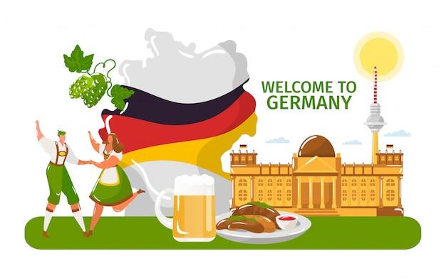 Willkommen in deutschland, menschen männlich, weiblich in traditionellem stoff, tanz lokalisiert auf weißer, flacher vektorillustration. nationalflagge. Premium Vektoren