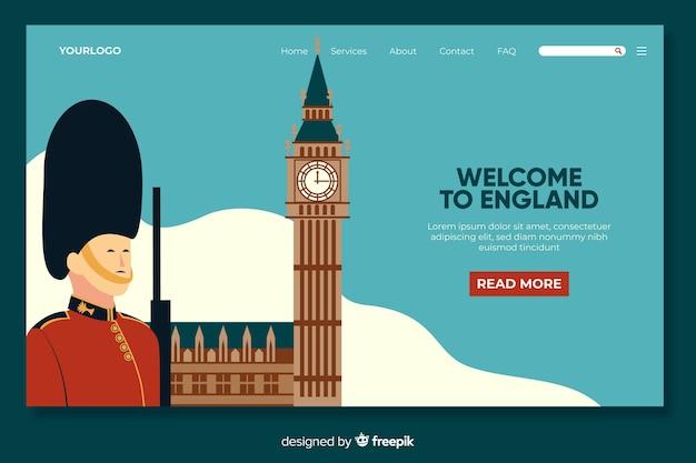 Willkommen in england landing page template Kostenlosen Vektoren