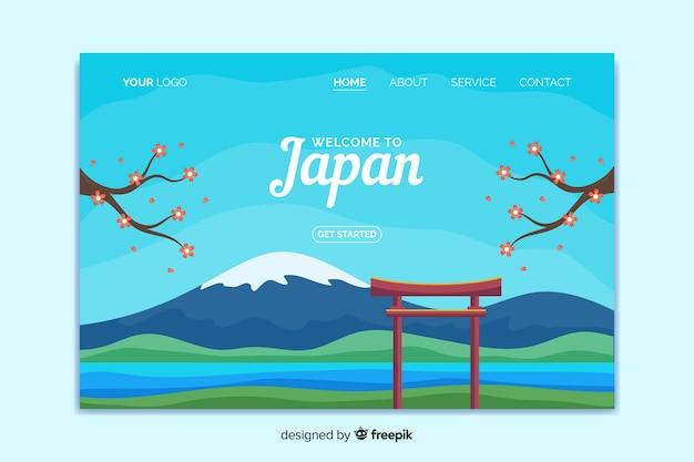 Willkommen in japan landing page template Kostenlosen Vektoren