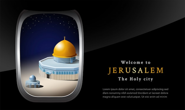 Willkommen in jerusalem Premium Vektoren