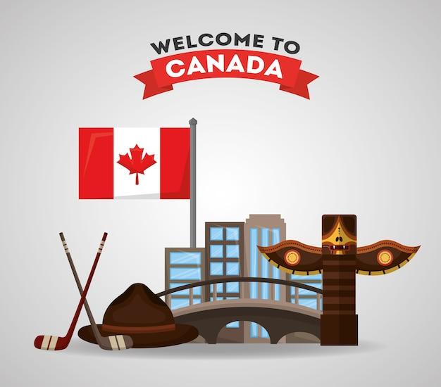 Willkommen in kanada totem city hockeyschläger puck und flagge Premium Vektoren