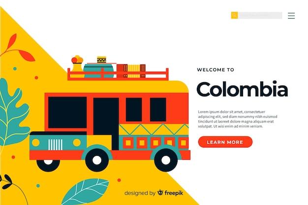 Willkommen in kolumbien landing page template Kostenlosen Vektoren